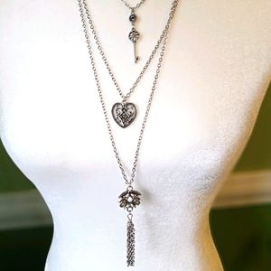 4/$15 3 tiered necklace/hearts/key